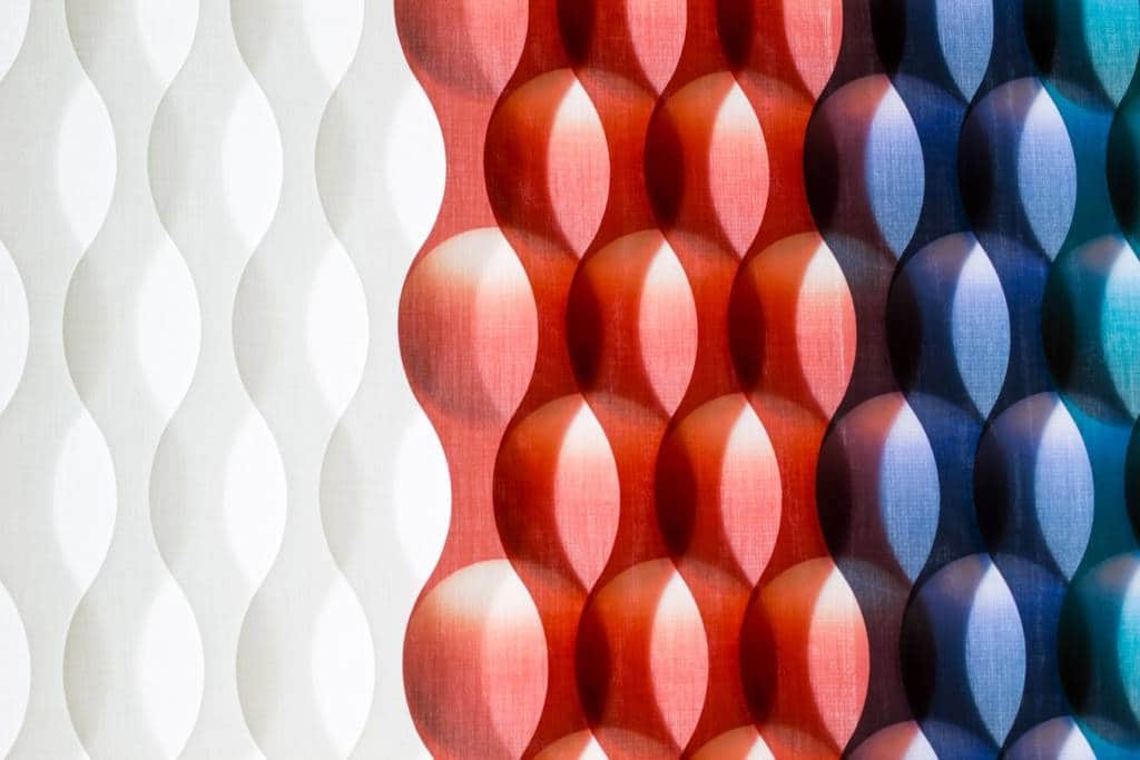 A red white and blue textured graphic