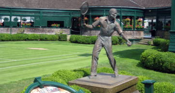 A statue of the tennis player Fred Perry