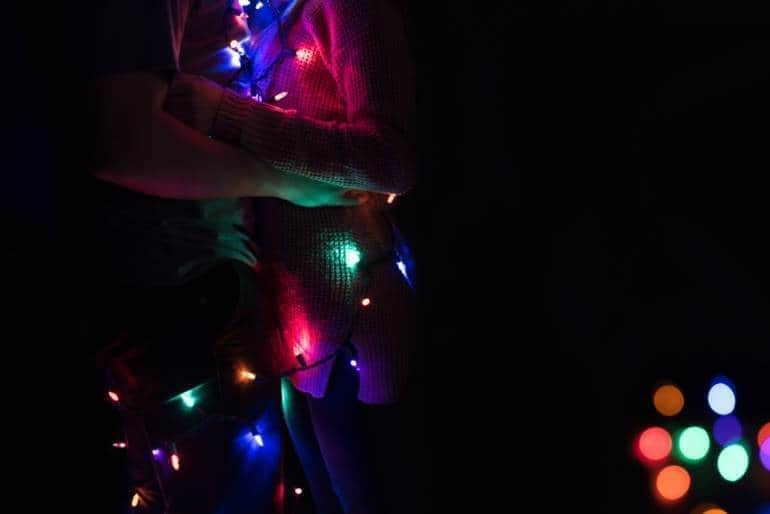 Couple dancing with lights