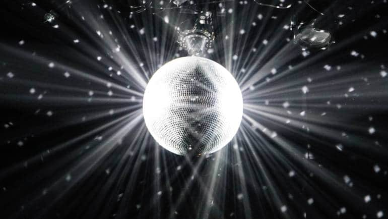A large, shimmering disco ball