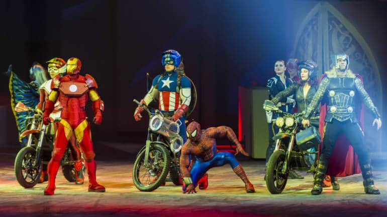 A group of people in Super Hero costumes from the Marvel Universe