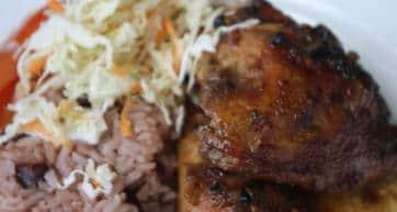 A plate of Jerk Chicken