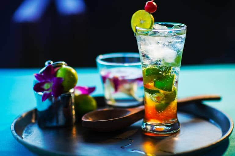A cocktail on a tray
