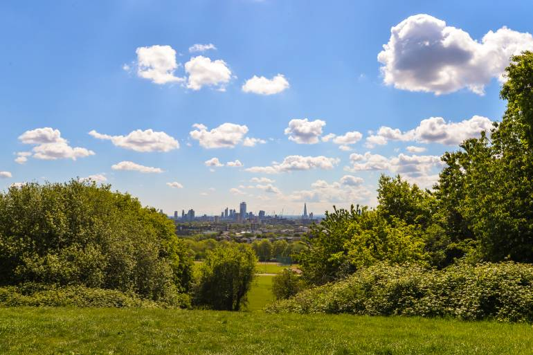View of London in the distance from Parliament Hill