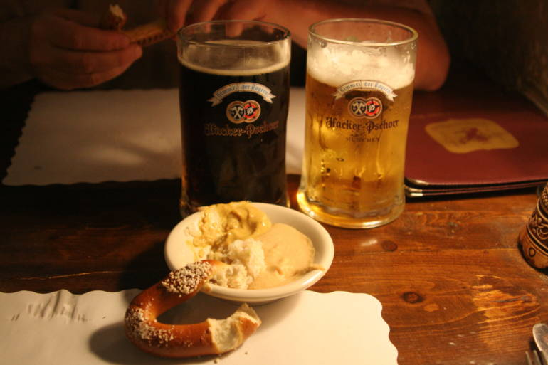 Oktoberfest—beer and pretzel