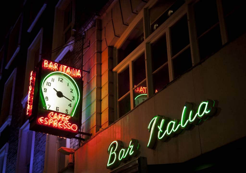 London Late night cafes bar italia