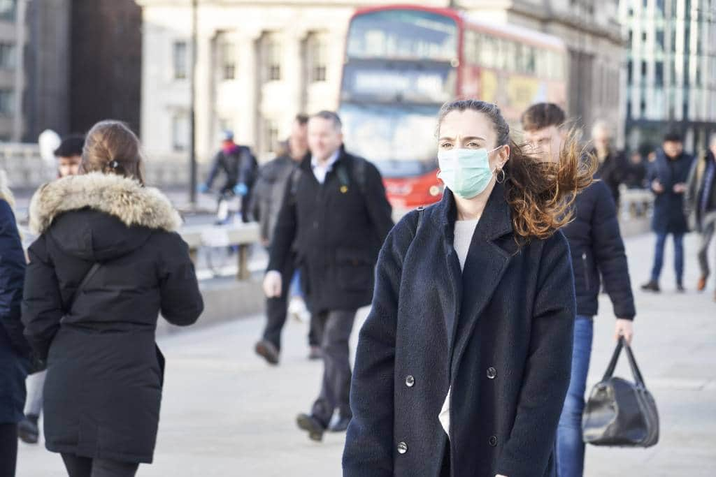 London Events Cancelled Coronavirus mask woman