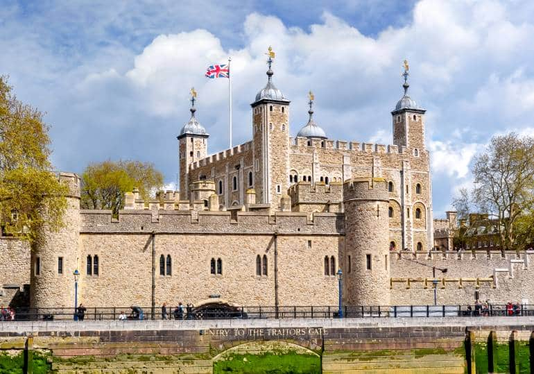 Tower of London flag and turrets