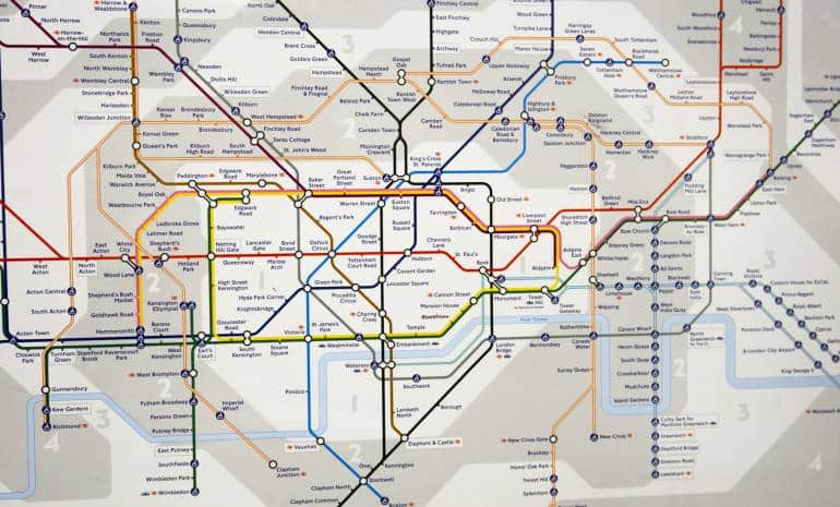 London travel map zones