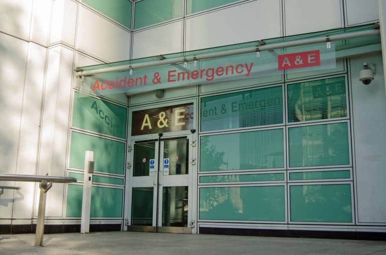 Hospital entrance to Accident and Emergency department