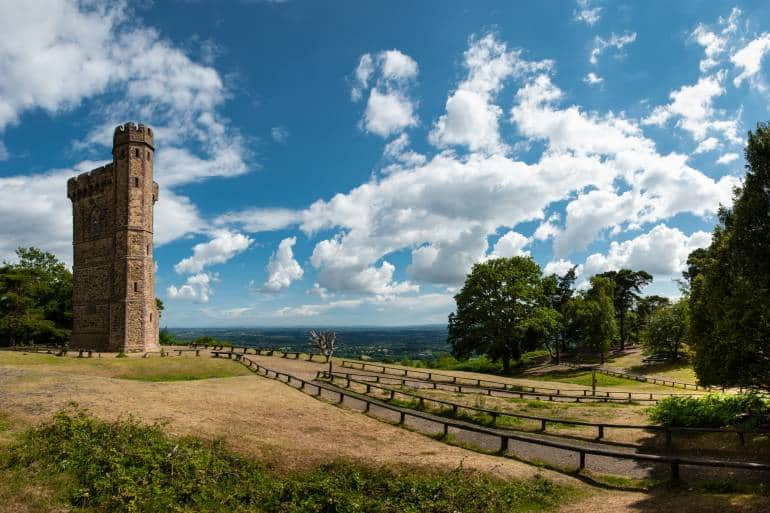 Leith Hill tower and landscape on a warm sunny day