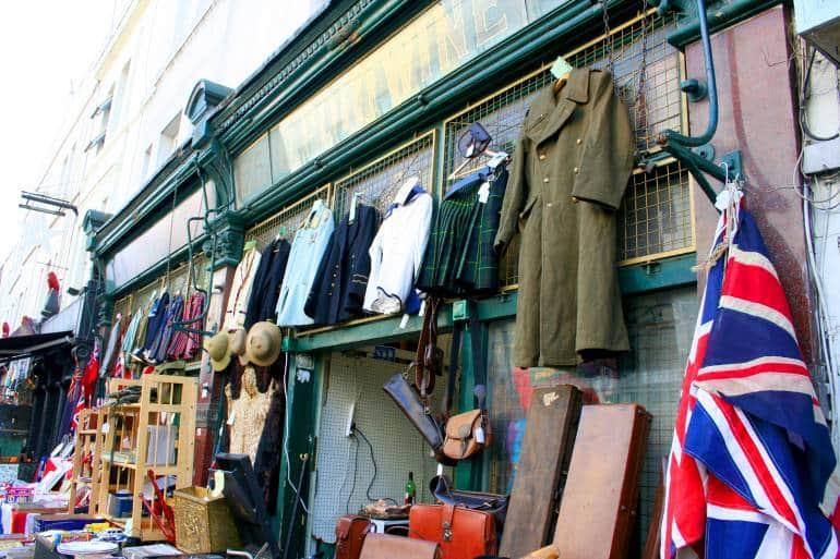 Flea market items on display at Portobello Road Market