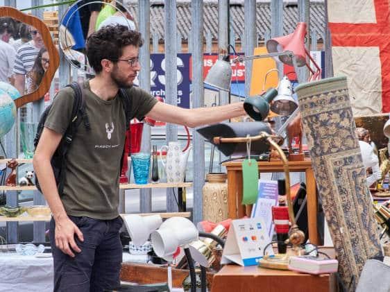 Man browsing at Walthamstow flea market
