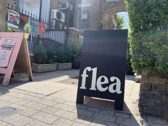 Sign outside hackney flea market