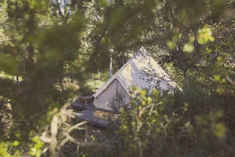bell tent in the forest - camping near London