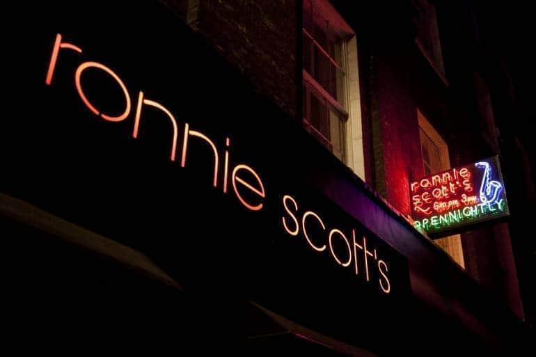Ronnie Scott's jazz club sign in London
