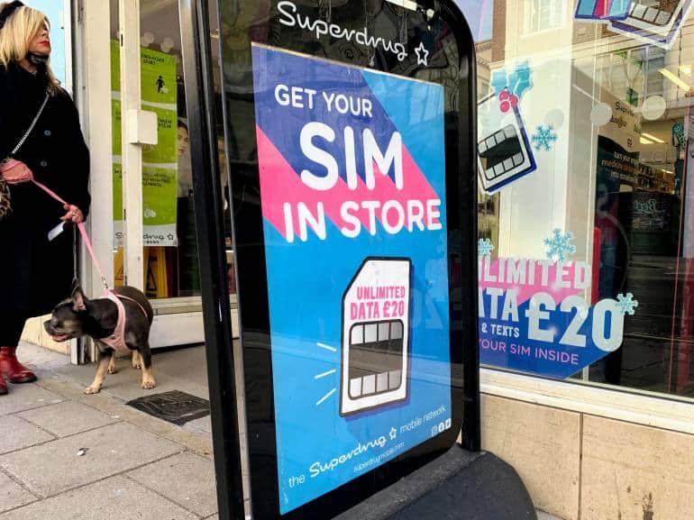 Superdrug shop with SIM card sign outside