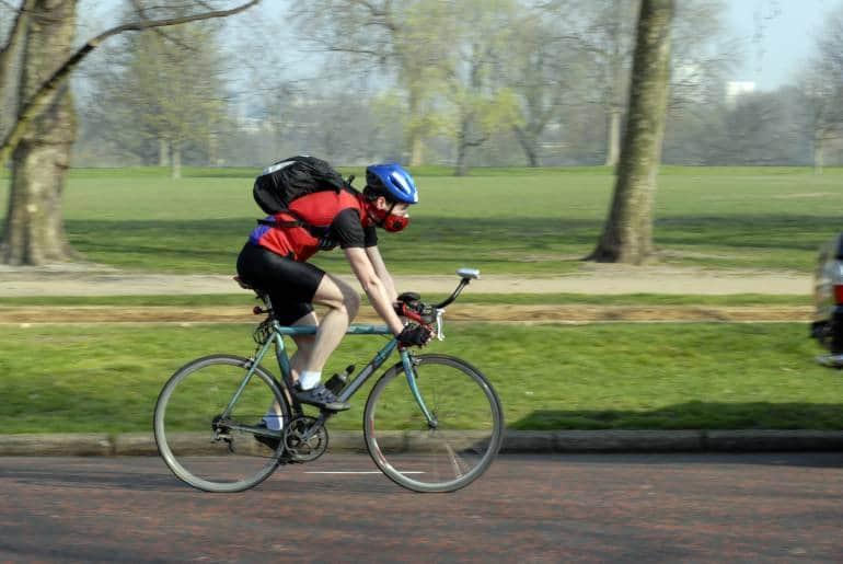 cyclist riding near Hyde Park, London