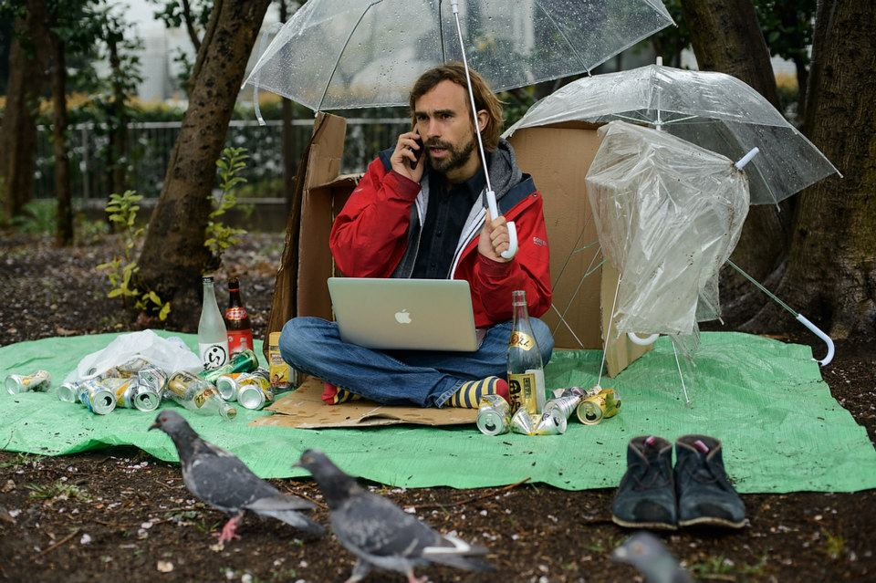 Working on a laptop in the park