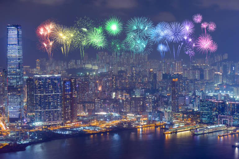 fireworks facing kowloon