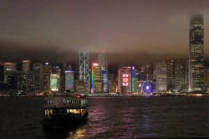 Hong Kong Skyline at Night - Star Ferry