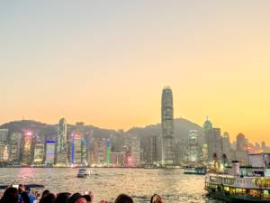 Dusk view of Kowloon and Star Ferry