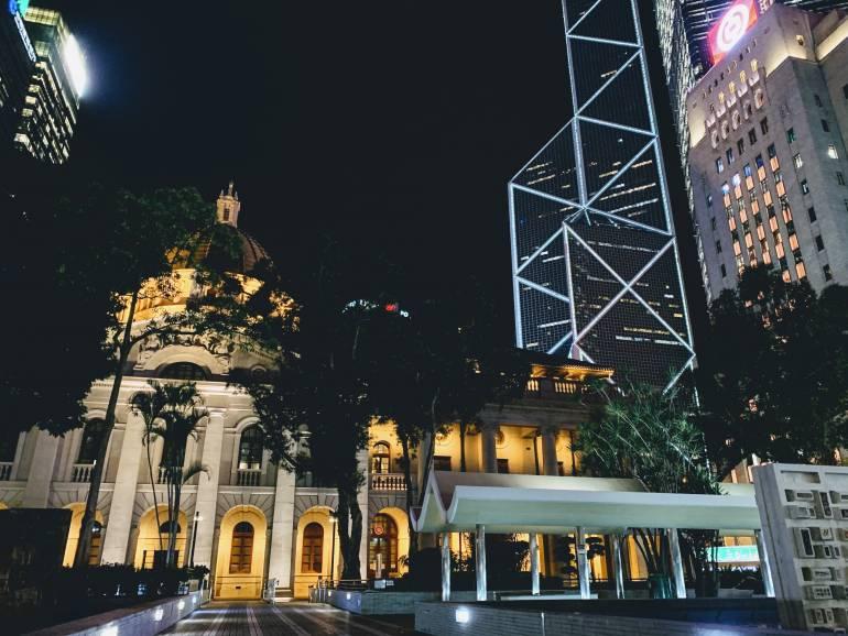 Statue Square Hong Kong at Night