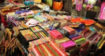 Colorful goods on display at Temple Street Night Market, Hong Kong