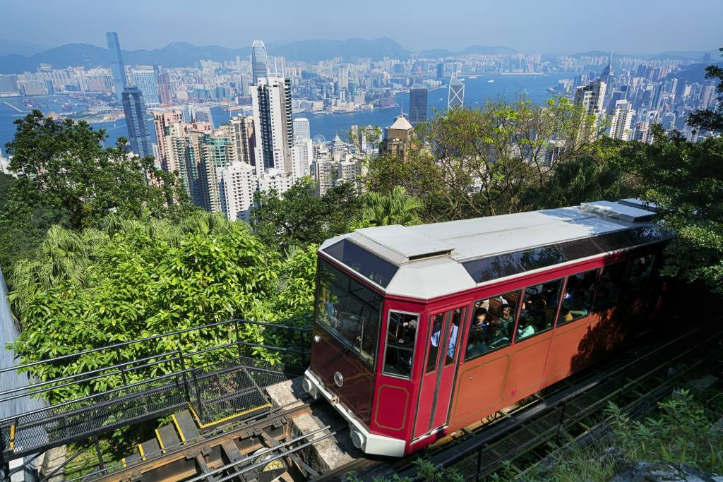 The Peak Tram, and a view of Hong Kong