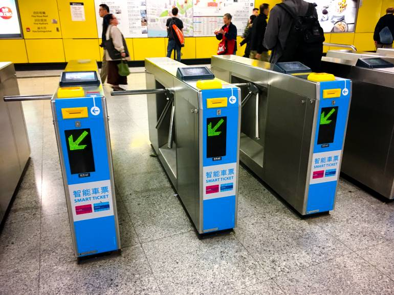 Octopus card machine in Hong Kong subway metro station