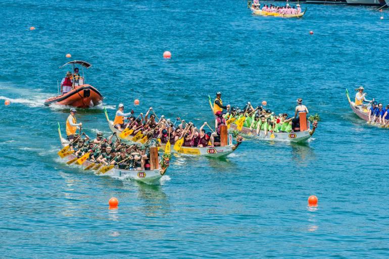 Dragon boat racing off Stanley Beach