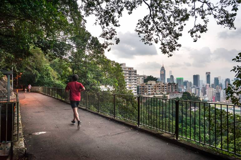 A jogger and a dog walker on the Bowen Road fitness trail, high above Hong Kong Island