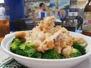 Broccoli and squid at Bowrington Road Food Centre