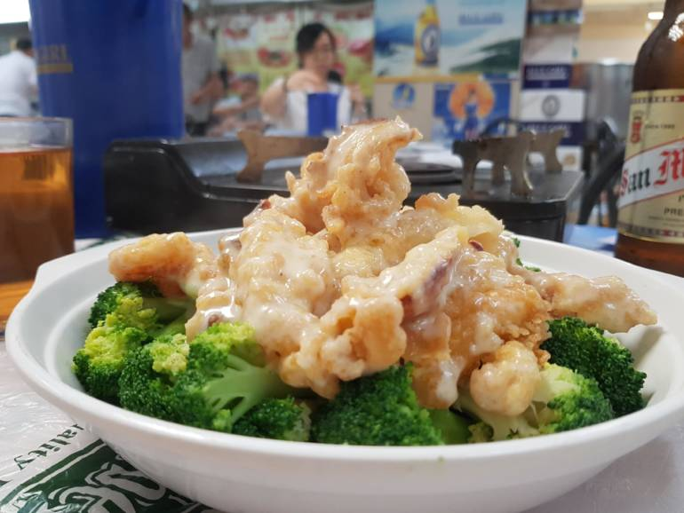 Broccoli and squid at Bowrington Road Food Centre