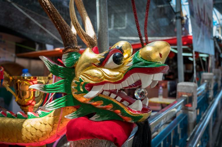 Traditional painted dragon head