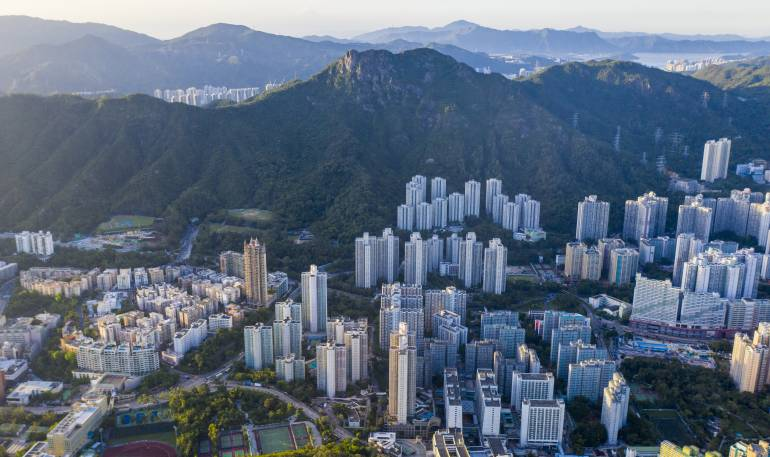 Aerial view of Kowloon District in Hong Kong