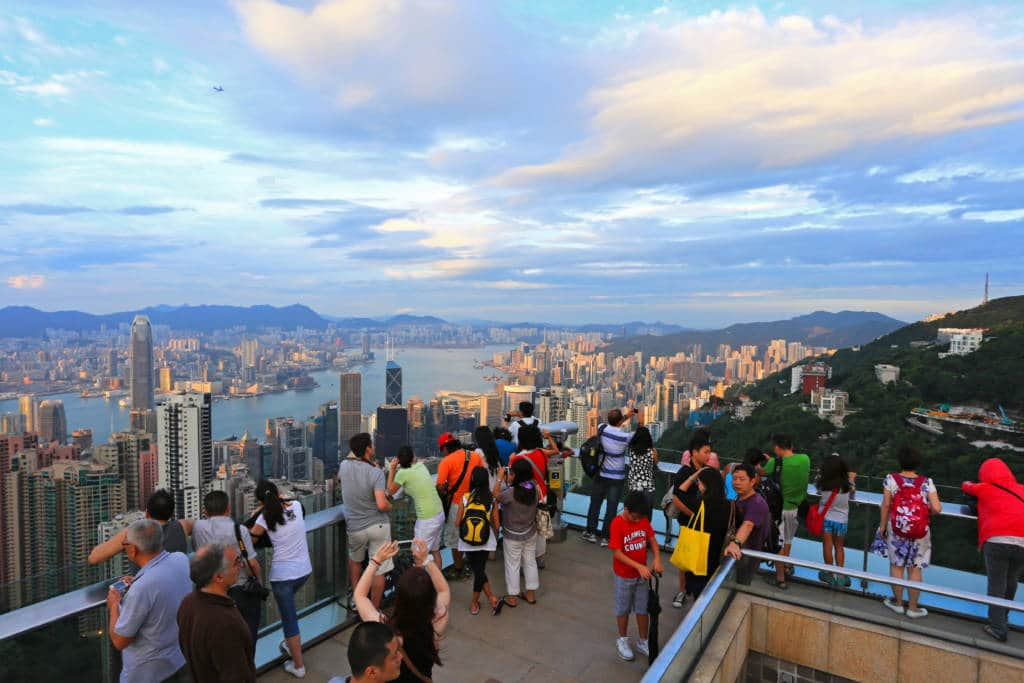 Tourists at the Peak Tower