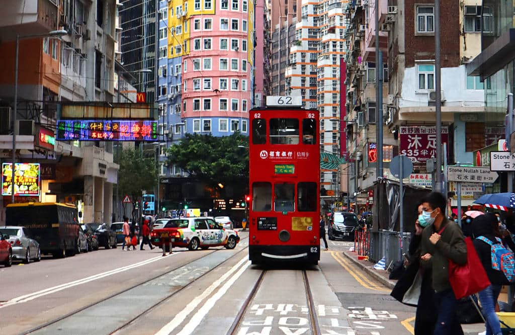 Hong Kong tram and Wanchai