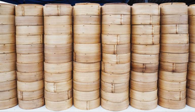Stack of bamboo steamed dim sum container
