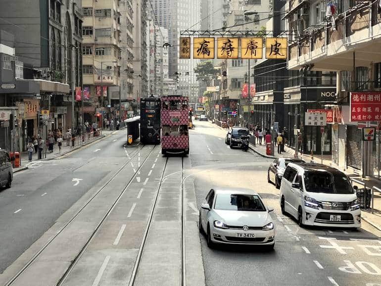 Double-decker tram on Des Voeux road, Sai Ying Pun, Hong Kong island