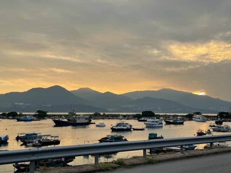 view of boats at dusk in San Men Zi, Tai Po district